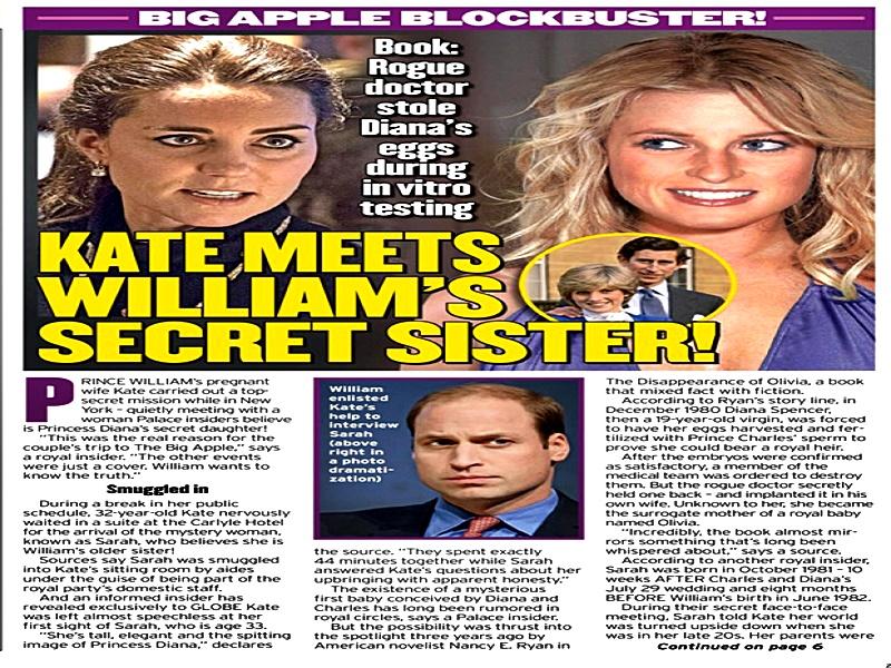 William y Kate fuero donde Sarah la supuesta hija de Diana y Carlos