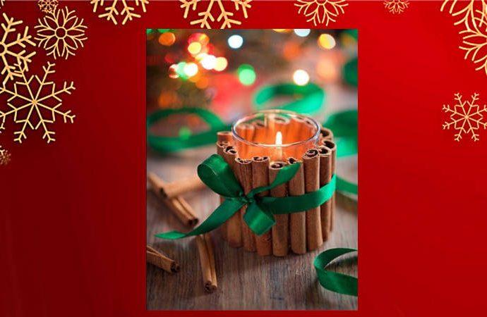 Vela navideña de olor a canela para decorar tu mesa