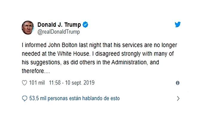Tump tuitea para informar la situación de Bolton