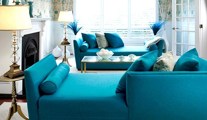 Muchos azules para una serena decoración