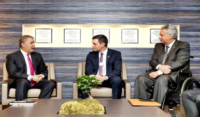 Sánchez, Duque y Moreno en Davos 2020 hablan sobre el caso Venezuela