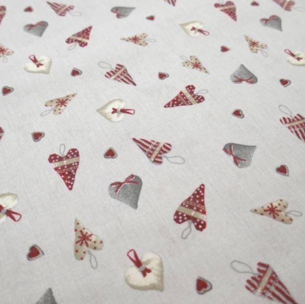 Telas navideñas algodón corazones