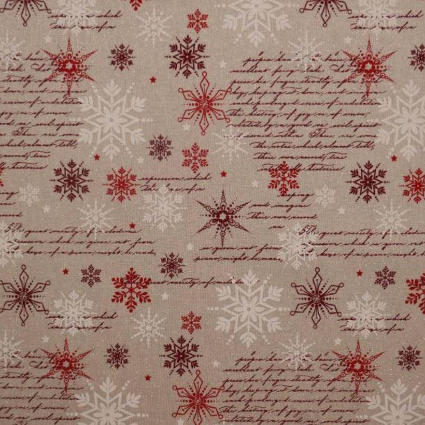 Tela navideña algodón estrellas y escritura
