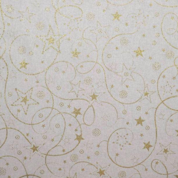 tela navideña loneta  con ornamentos dorados