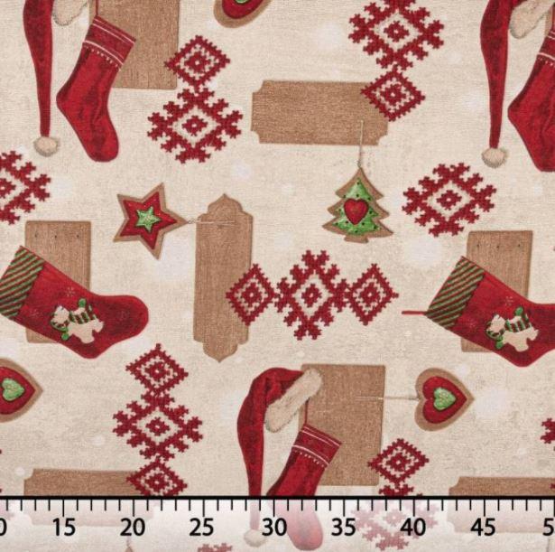 telas navideñas loneta con gorros y calcetines