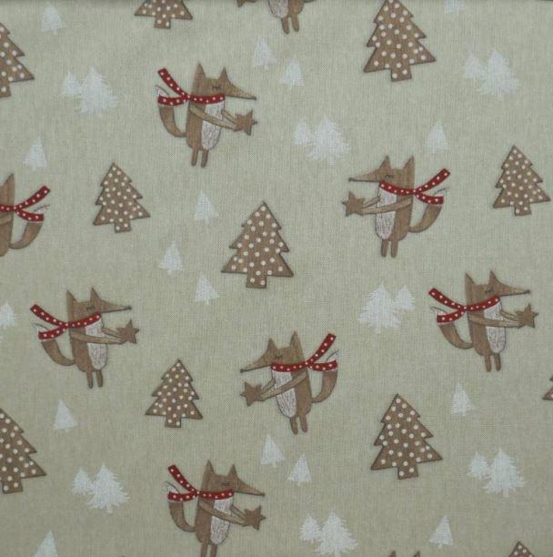 telas navideñas loneta con arboles y zorros