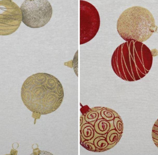 Telas navideñas loneta con bolas de navidad