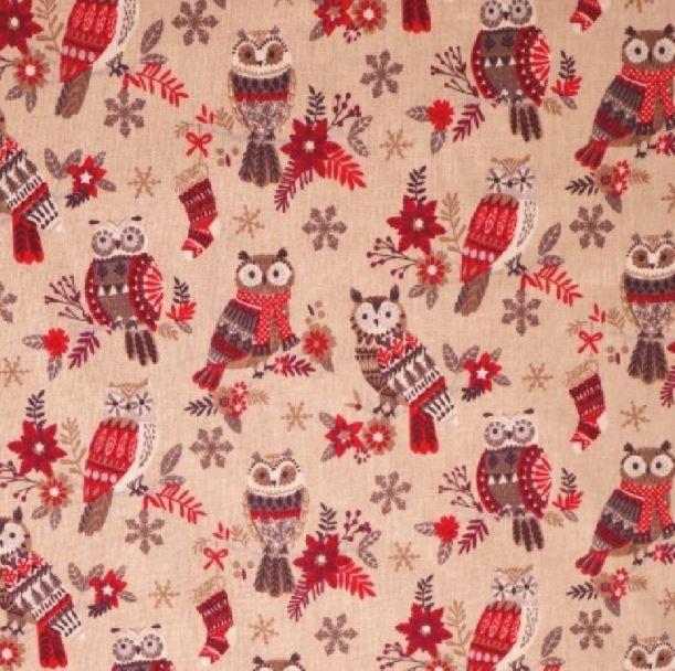 telas navideñas algodón con búhos en colores