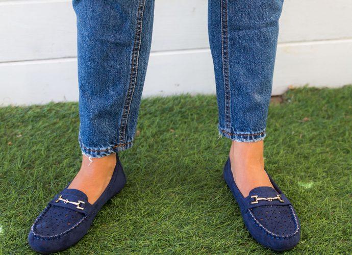 mocasines azules mujer